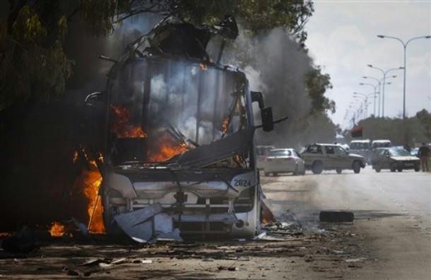 Burning bus in Libya