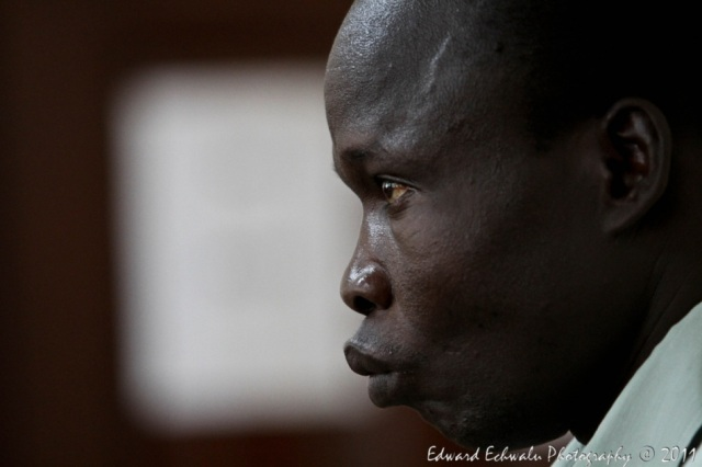 Thomas Kwoyelo during his second hearing at the International Crimes Division of the High Court of Uganda, Gulu (Photo: Edward Echwalu)