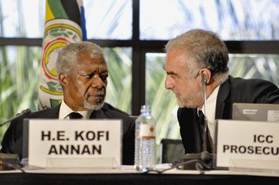 Ocampo and Annan in Kampala