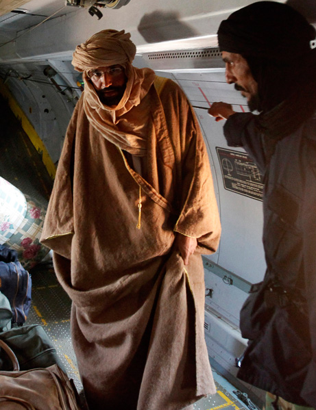 Saif al-Islam Gaddafi after being captured by rebels from Zintan