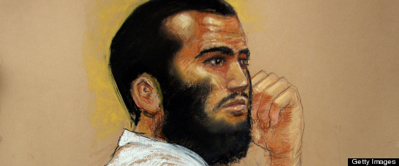 Omar Khadr at his US military war crimes commission trial in Guantanamo Bay