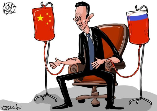 Assad cartoon - Russia and China