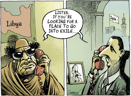 assad-gaddafi-exile-step-down-caricature-lebanon-spring-blog-libya-syria