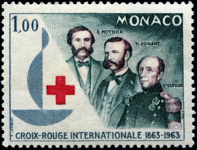 Stamp from Monaco depicting Gustave Moynier (l), Henri Dunant, and General Henri Dufour.