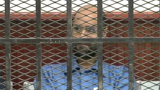 Saif al-Islam during a court appearance in Zintan earlier this year (Photo: BBC)