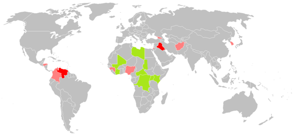 Official (green) and preliminary (red/pink) investigations by the ICC