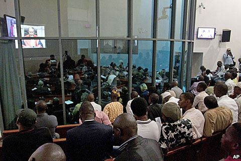 People watch the Taylor verdict at the SCSL in Freetown, Sierra Leone (Photo: AP)