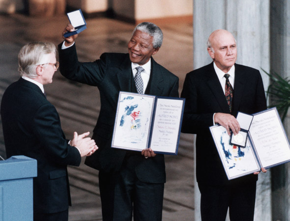 Mandela with FW De Klerk, jointly accepting the Nobel Peace Prize.