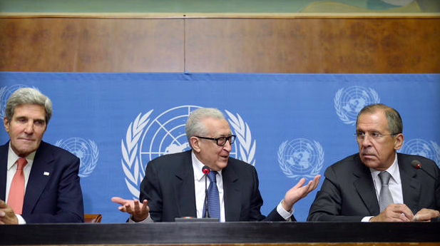 United Nations-Arab League special envoy for Syria Lakhdar Brahimi, US Secretary of State John Kerry and Russian Foreign minister Sergey Lavrov (Photo: Getty Images)