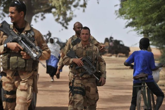 French soldiers (some of which were transported by the US) on patrol on Mali (Photo: Issouf Sanogo/AFP/Getty Images)