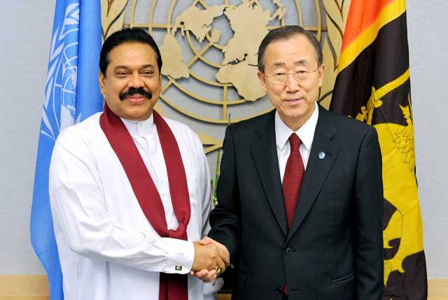 UN Secretary-General Ban Ki-moon with Sri Lankan President Mahinda Rajapaksa (Photo: UN News Centre)