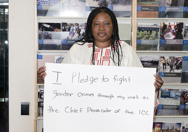 Fatou Besouda poses for a stop rape in conflict campaign event (Photo: PassBlue)