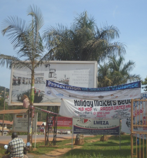 Banner advertising the ICTR workshop on Kampala-Entebbe Road, January 2014. (Photo: Viviane Dittrich)