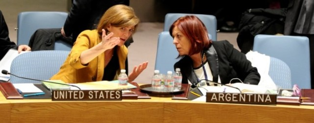 Ambassador Perceval (right) with US Ambassador to the UN, Samantha Power (Photo: UN Photo/Evan Schneider)