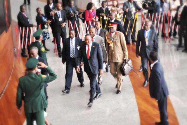 Kenyan President Uhuru Kenyatta arrives for an African Union Summit in October 2013 (Photo: Jacey Fortin)