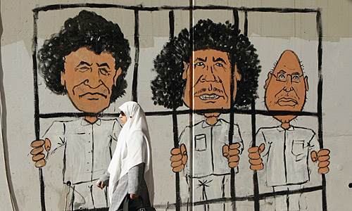 The Tripoli Three: al-Senussi (L), Muammar Gaddafi (C) and Saif al-Islam (R) (Photo: Die Presse)