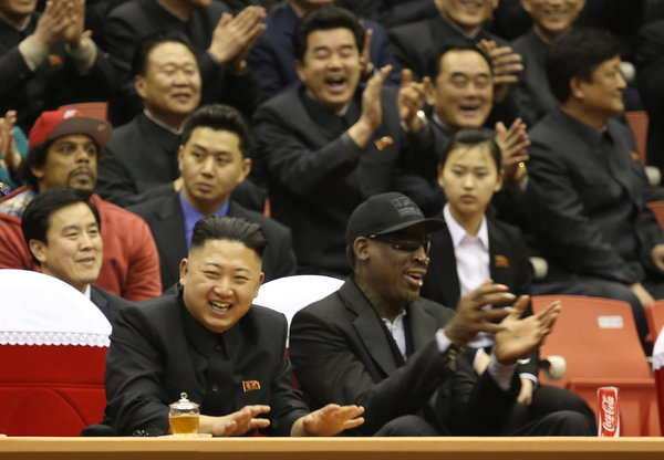 Denis Rodman with North Korean leader, Kim Jong-un. Could Pyongyang use Rodman for a full-court press and a diplomatic rebound? (Photo: Jason Mojica / VICE Media)