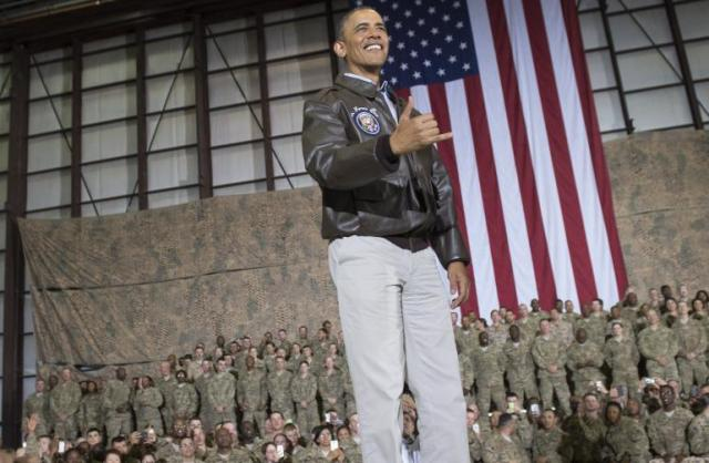 US President Barack Obama speaks to American troops at Bagram air base, Kabul (Photo: Saul Loeb / AFP / Getty Images)