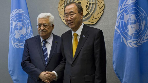 Palestinian Authority leader Mahmoud Abbas with UN Secretary General Ban Ki-moon (Photo: Reuters)