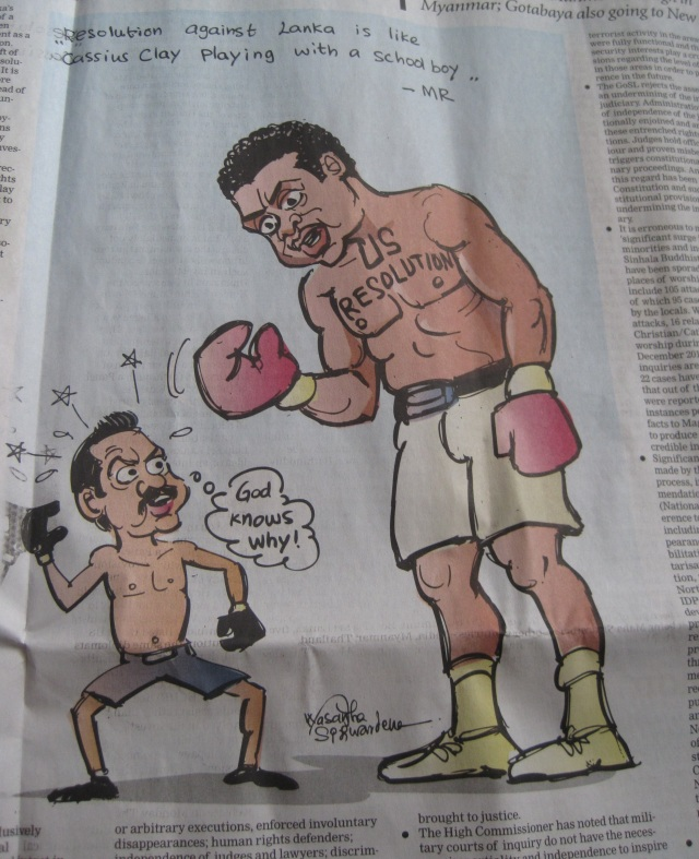 "A cartoon visualizing Rajapaksa's claim that the US sponsoring the UNHRC resolution was like ""Muhammed Ali picking on a schoolboy"". (Image: The Sunday Times)"