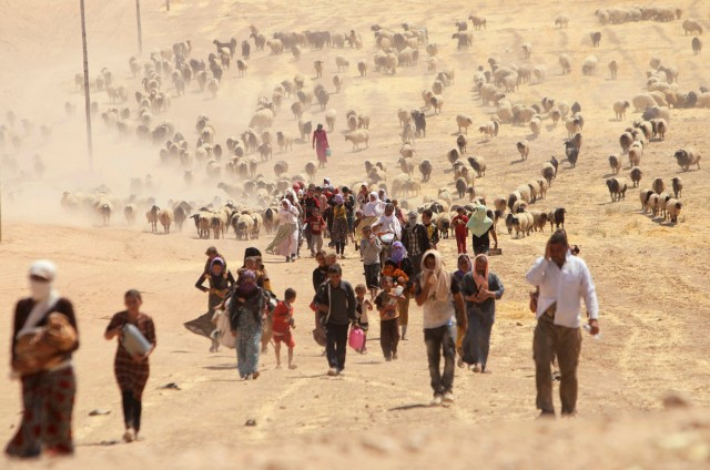 Displaced Yazidi people walk toward the Syrian border in August 2014 (Photo: Rodi Sai / Reuters)