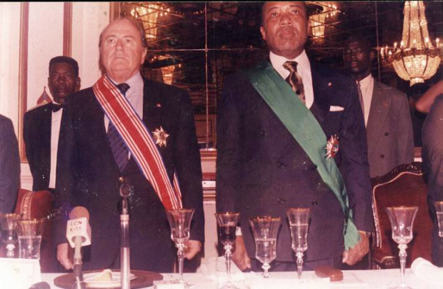 FIFA President, Sepp Blatter, with former Liberian President, Charles Taylor, convicted by the Special Court for Sierra Leone for aiding and abetting war crimes in Sierra Leone.