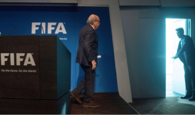 An eerily apropos photo of Sepp Blatter following his resignation as FIFA boss (Photo: The Guardian)