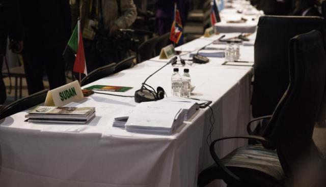 An empty seat, reserved from President Bashir, at the AU Summit in South Africa (Photo: Getty Images)