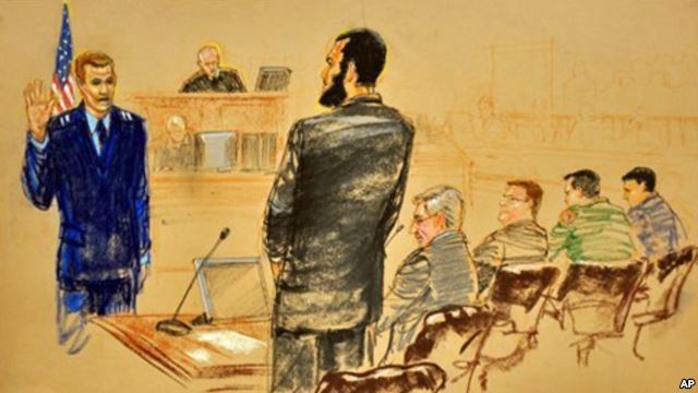 Omar Khadr, a former detainee at Guantanamo Bay, appears before a military commission in 2010.