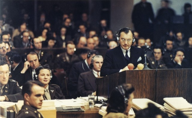 U.S. Prosecutor Robert H. Jackson addresses the court at the Nuremberg Military Tribunal in 1946.