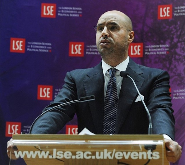 Saif al-Islam Gaddafi addresses an audience at the London School of Economics in 2010 (Photo: Ben Stansall / AFP / Getty Images)