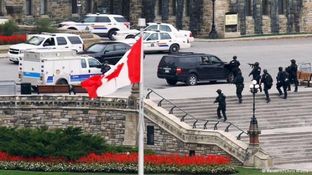 The scene on Parliament Hill, Ottawa, following a gunman's attack in December 2014 (Photo: Reuters: Chris Wattie)