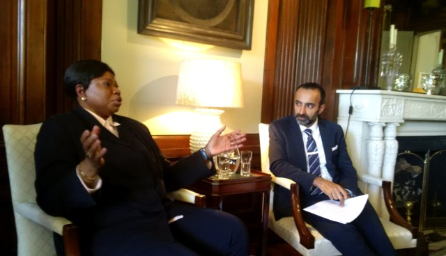 ICC Prosecutor Fatou Bensouda speaks with Shehzad Charania (Photo: Sam Shoamanesh)