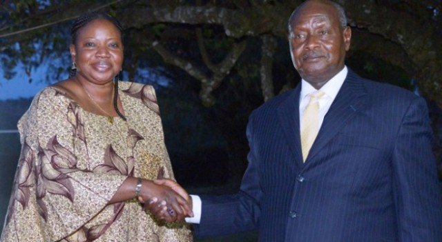 ICC Chief Prosecutor Fatou Bensouda with Ugandan President Yoweri Museveni during a meeting in 2015 (Photo: Daily Post)