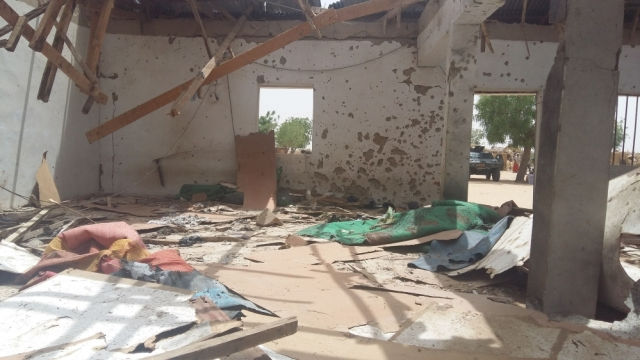 Damage to a mosque following a suicide attack in Maiduguri, Nigeria (Photo: AP)