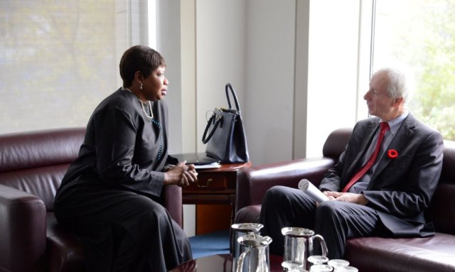 Canadian Foreign Minister Stéphane Dion speaks with ICC chief Prosecutor Fatou Bensouda (Photo: Stéphane Dion)