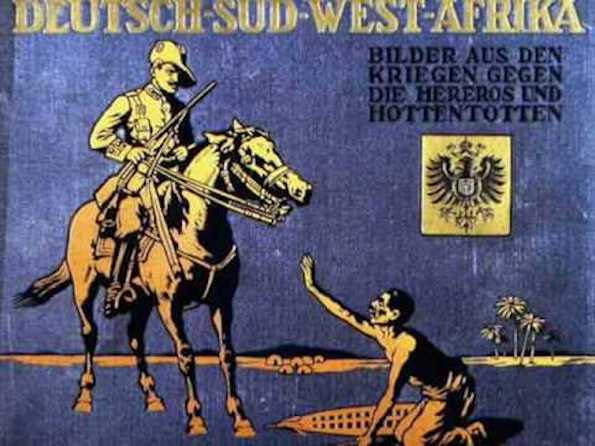 A cover of a book by Georg Rau and Lothar von Trotha (1907) depicting the subjugation of the Herero people.