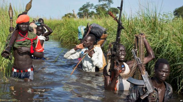Rebel soldiers on patrol in South Sudan, in 2014. (Photo: AP)