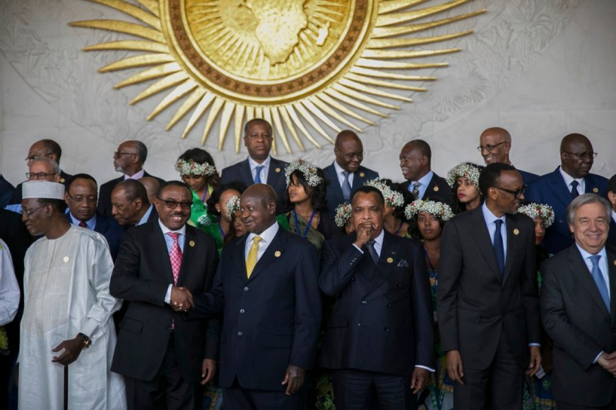 Leaders gather for an photo opportunity at the recent African Union Summit (Photo: Mulugeta Ayene / AP)